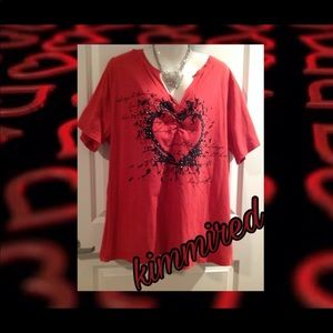 Lane Bryant Red/Black Heart Graphic Shirt ~ 22/24